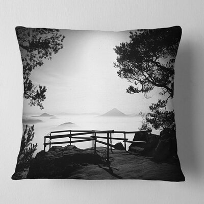 Full Moon Autumn Midnight in Black Landscape Photography Pillow Size: 18 x 18, Product Type: Throw Pillow