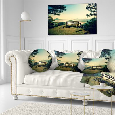Full Moon Autumn Midnight Landscape Photo Throw Pillow Size: 20 x 20