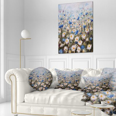 Glade of Cornflowers and Daisies Floral Throw Pillow Size: 20 x 20
