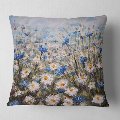 Glade of Cornflowers and Daisies Floral Pillow Size: 16 x 16, Product Type: Throw Pillow