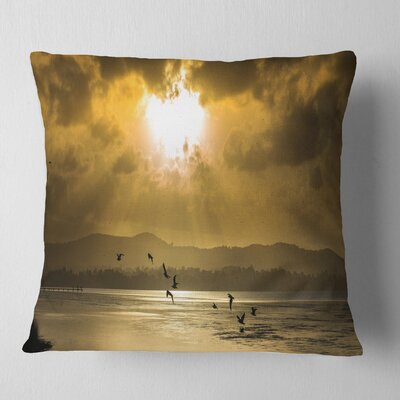 Glittering Sun Among heavy Clouds Seashore Pillow Size: 18 x 18, Product Type: Throw Pillow