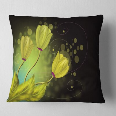 Flowers Greeting Card Floral Pillow Size: 18 x 18, Product Type: Throw Pillow