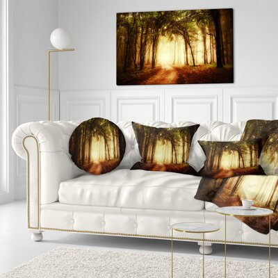 Forest in Fall Morning Landscape Photography Throw Pillow Size: 16 x 16