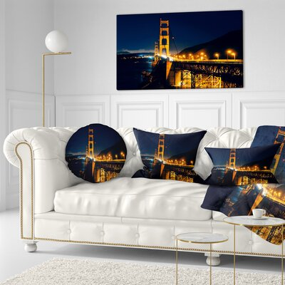 Gate at Night Sea Bridge Throw Pillow Size: 16 x 16