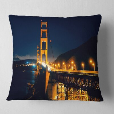 Gate at Night Sea Bridge Pillow Size: 16 x 16, Product Type: Throw Pillow