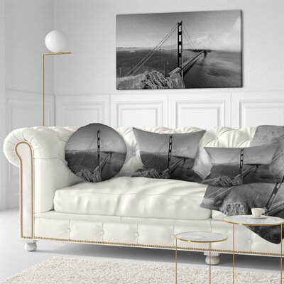 Gate Bridge in Panorama Sea Bridge Throw Pillow Size: 16 x 16
