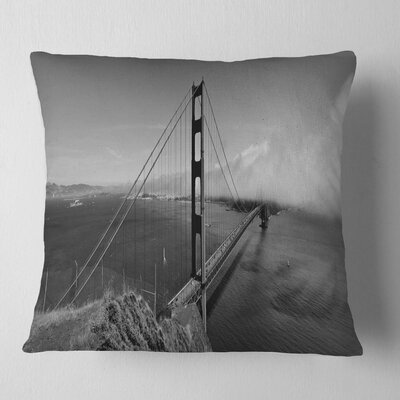 Gate Bridge in Panorama Sea Bridge Pillow Size: 16 x 16, Product Type: Throw Pillow