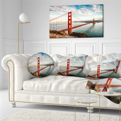 Gate Bridge in San Francisco Sea Bridge Throw Pillow Size: 20 x 20
