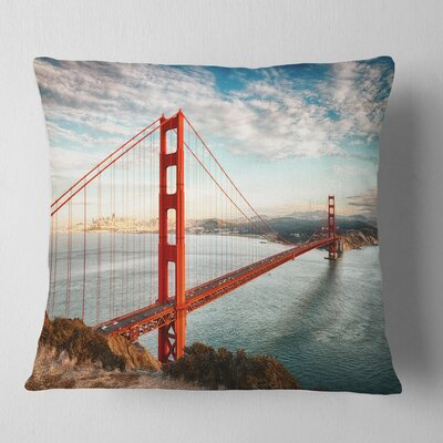 Gate Bridge in San Francisco Sea Bridge Pillow Size: 18 x 18, Product Type: Throw Pillow