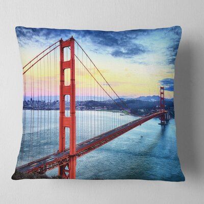 Gate Bridge in San Francisco Sea Bridge Pillow Size: 26 x 26, Product Type: Euro Pillow