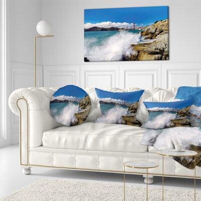 Gate Bridge in San Francisco Seashore Throw Pillow Size: 20 x 20