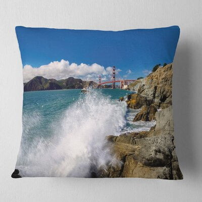 Gate Bridge in San Francisco Seashore Pillow Size: 18 x 18, Product Type: Throw Pillow