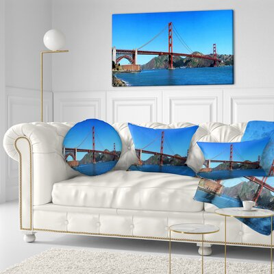 Gate Bridge under Sky Cityscape Throw Pillow Size: 16 x 16