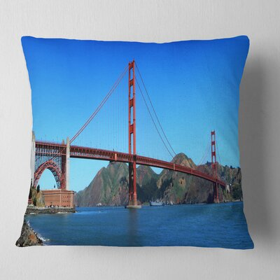 Gate Bridge under Sky Cityscape Pillow Size: 26 x 26, Product Type: Euro Pillow