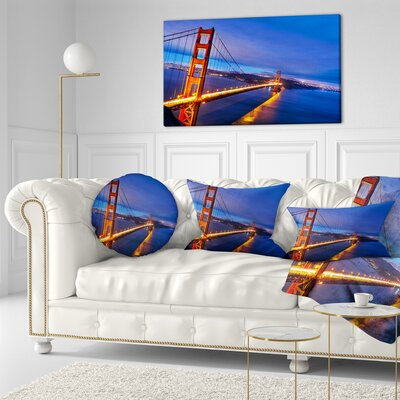 Gate in Background Sea Bridge Throw Pillow Size: 20 x 20