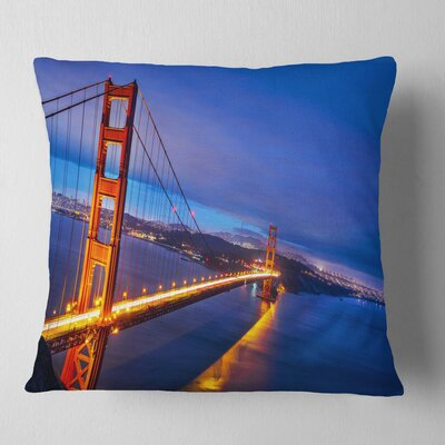 Gate in Background Sea Bridge Pillow Size: 16 x 16, Product Type: Throw Pillow