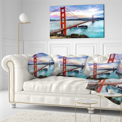 Gate in San Francisco Sea Bridge Throw Pillow Size: 20 x 20