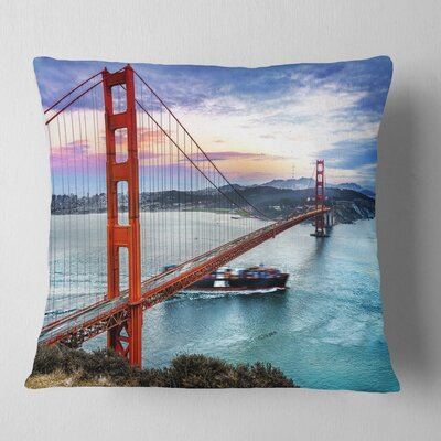 Gate in San Francisco Sea Bridge Pillow Size: 18 x 18, Product Type: Throw Pillow