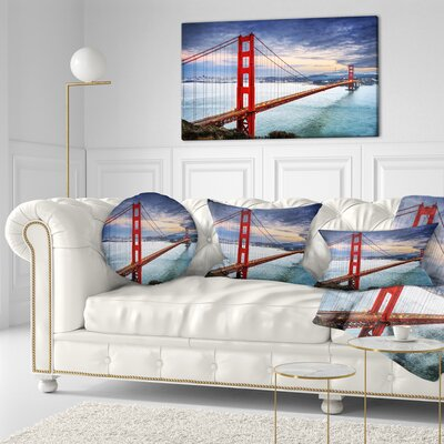 Gate under Cloudy Sky Sea Bridge Throw Pillow Size: 16 x 16
