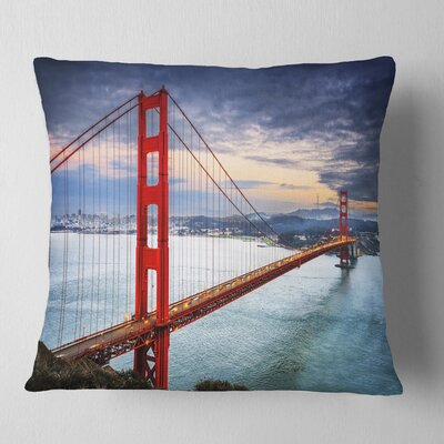Gate under Cloudy Sky Sea Bridge Pillow Size: 16 x 16, Product Type: Throw Pillow