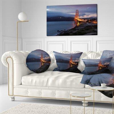Gate with Night Illumination Sea Bridge Throw Pillow Size: 20 x 20