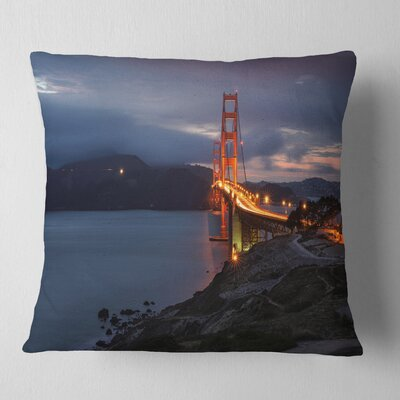 Gate with Night Illumination Sea Bridge Pillow Size: 26 x 26, Product Type: Euro Pillow
