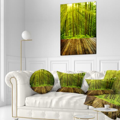 Sunlight in Pine Forest Landscape Photography Throw Pillow Size: 20 x 20