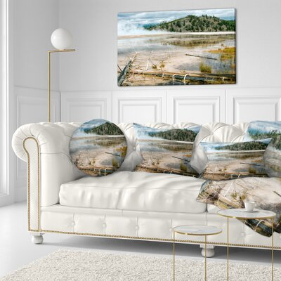 Grand Prismatic Spring Landscape Photography Throw Pillow Size: 20