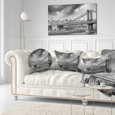 Manhattan Skyline Cityscape Photography Throw Pillow Size: 16