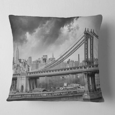 Manhattan Skyline Cityscape Photography Pillow Size: 16 x 16, Product Type: Throw Pillow