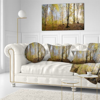 Autumn Forest in Morning Landscape Photography Throw Pillow Size: 16 x 16