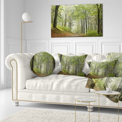 Beach Forest Pathway Landscape Photo Throw Pillow Size: 20 x 20