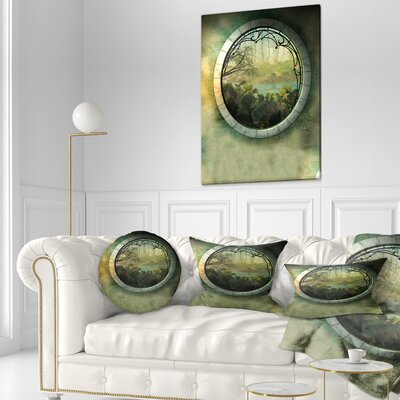 Fantasy Landscape with Frame Photography Throw Pillow Size: 16 x 16