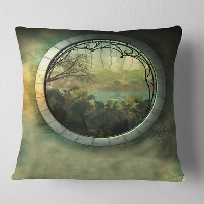 Fantasy Landscape with Frame Photography Pillow Size: 26 x 26, Product Type: Euro Pillow