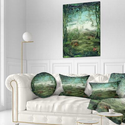 Forest Glade Landscape Printed Throw Pillow Size: 16 x 16