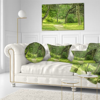 Forest Path in Early Summer Landscape Photography Throw Pillow Size: 16 x 16
