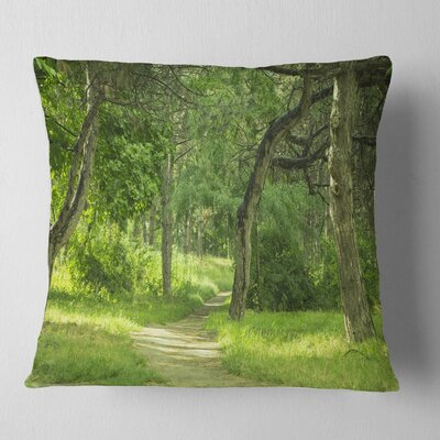 Forest Path in Early Summer Landscape Photography Pillow Size: 16 x 16, Product Type: Throw Pillow