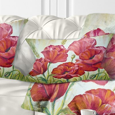 Poppies in Floral Pillow Size: 12 x 20, Product Type: Lumbar Pillow