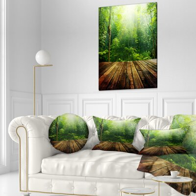 Forest with Ray of Light Landscape Photo Throw Pillow Size: 20 x 20