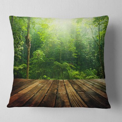 Forest with Ray of Light Landscape Photo Pillow Size: 18 x 18, Product Type: Throw Pillow
