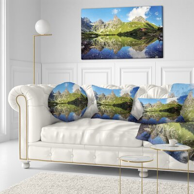 Lake in Tatra Mountain Landscape Photo Throw Pillow Size: 16 x 16