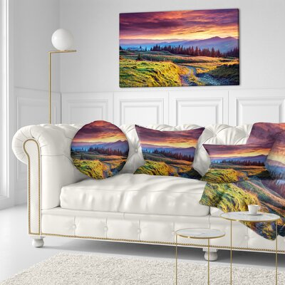 Land Under overcast Sky Landscape Photography Throw Pillow Size: 20 x 20