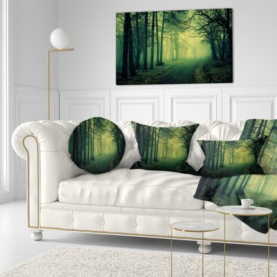 Light in Thick Mist Forest Landscape Photography Throw Pillow Size: 20 x 20