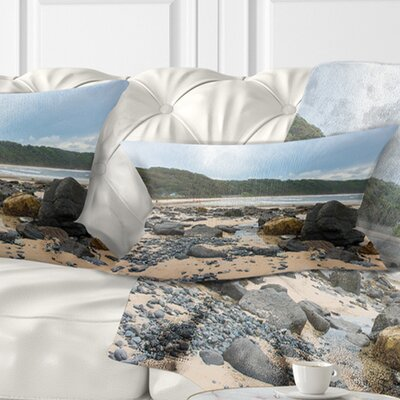 Pretty Beach with Small and Big Rocks Seashore Pillow Size: 12 x 20, Product Type: Lumbar Pillow