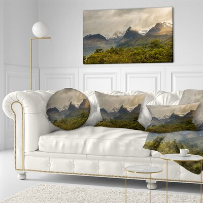 Mountains under Stormy Clouds Landscape Printed Throw Pillow Size: 16 x 16