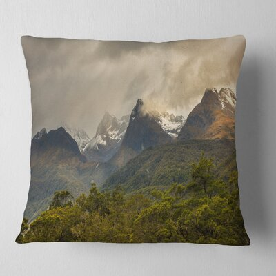 Mountains under Stormy Clouds Landscape Printed Pillow Size: 26 x 26, Product Type: Euro Pillow