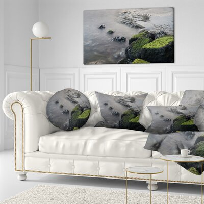 Rocks in Beautiful Sydney Coastline Seashore Throw Pillow Size: 16 x 16