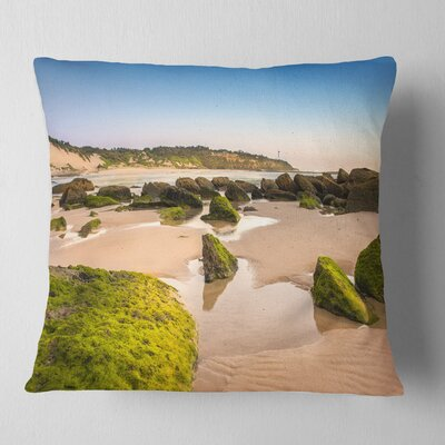 Rocky Seashore at Norah Head Seashore Pillow Size: 18 x 18, Product Type: Throw Pillow