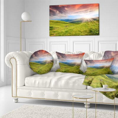 Summer in Carpathians Landscape Photo Throw Pillow Size: 16 x 16