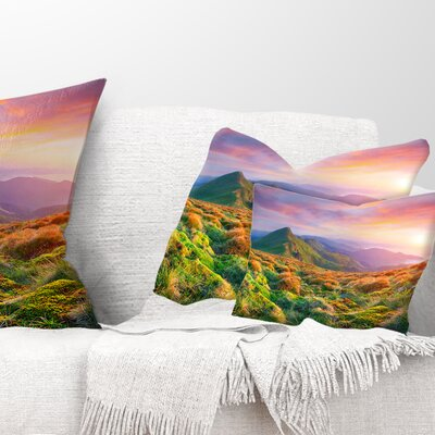 Pretty Sunset in Mountains Landscape Photography Pillow Size: 12 x 20, Product Type: Lumbar Pillow